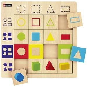 Εικόνα της Ξύλινο παζλ λογικής γεωμετρικά σχήματα.