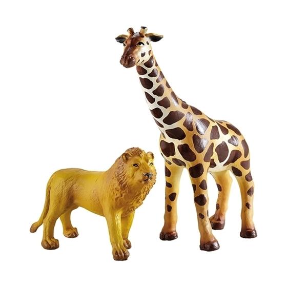 Εικόνα της Καμηλοπάρδαλη και λιοντάρι.