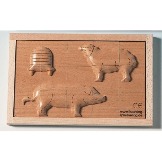 """Εικόνα της Ξύλινο ανάγλυφο παζλ """"Γουρούνι,πρόβατο,χελώνα"""""""