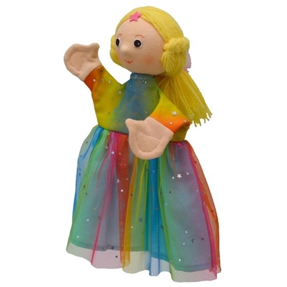 Εικόνα της Γαντόκουκλα Κοριτσάκι με Πολύχρωμο Φόρεμα